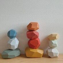Nordic Color Stone Block Figurine Miniature Model Wood Modern Art Figurine Ornament Home Decoration Accessories Room Decor