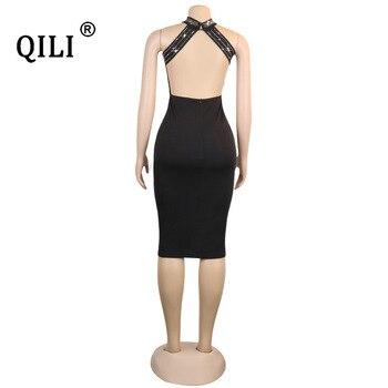 QILI Women Sexy Party Dress Sleeveless Backless Diamonds Rhinestone Dresses Black See Through Mesh Bodycon Dress Femme S-5XL 10