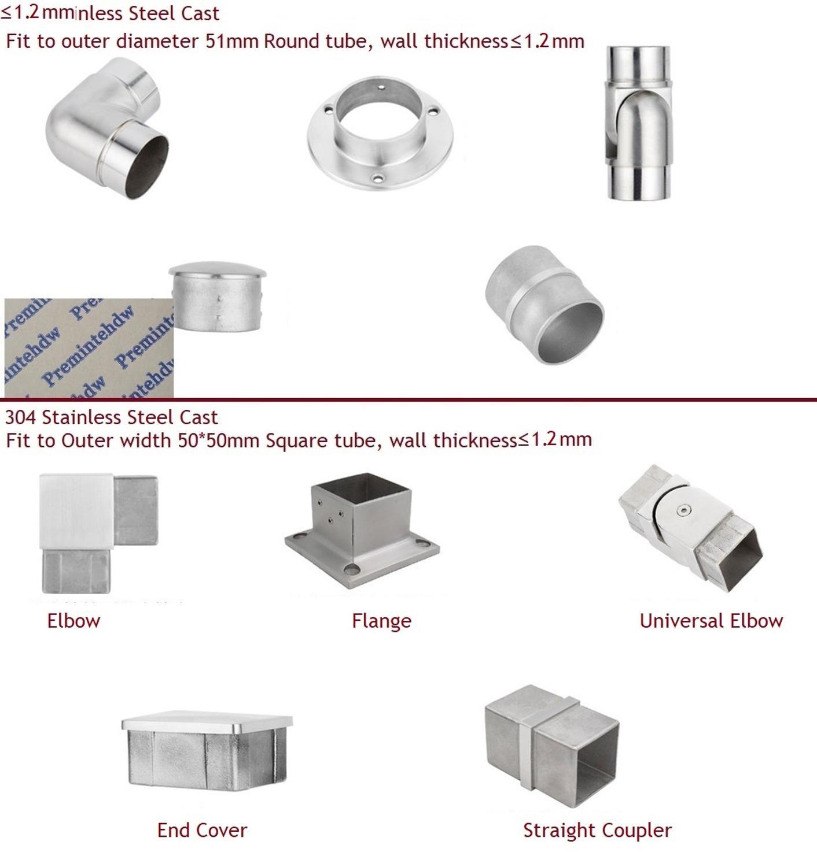 304 aço inoxidável molde corrimão quadrado redondo 2