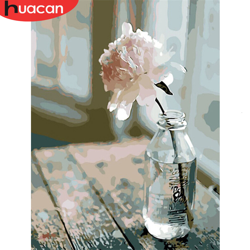 HUACAN Oil Painting By Numbers Flowers Modern HandPainted Drawing Kits Canvas DIY Pictures Home Decoration Gift