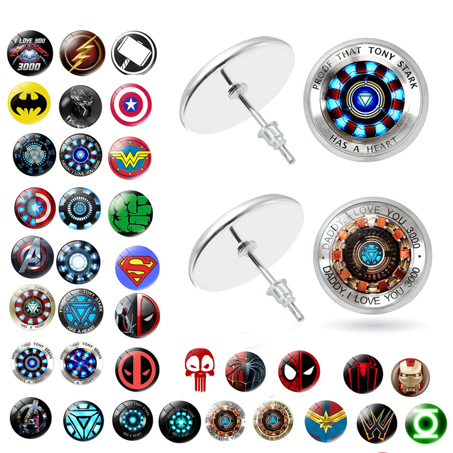 Avengers 4 Cartoon Stud <font><b>Earrings</b></font> Glass Creative Two Half Spiderman Batman Iron Man Stud <font><b>Earrings</b></font> Jewelry Gifts image