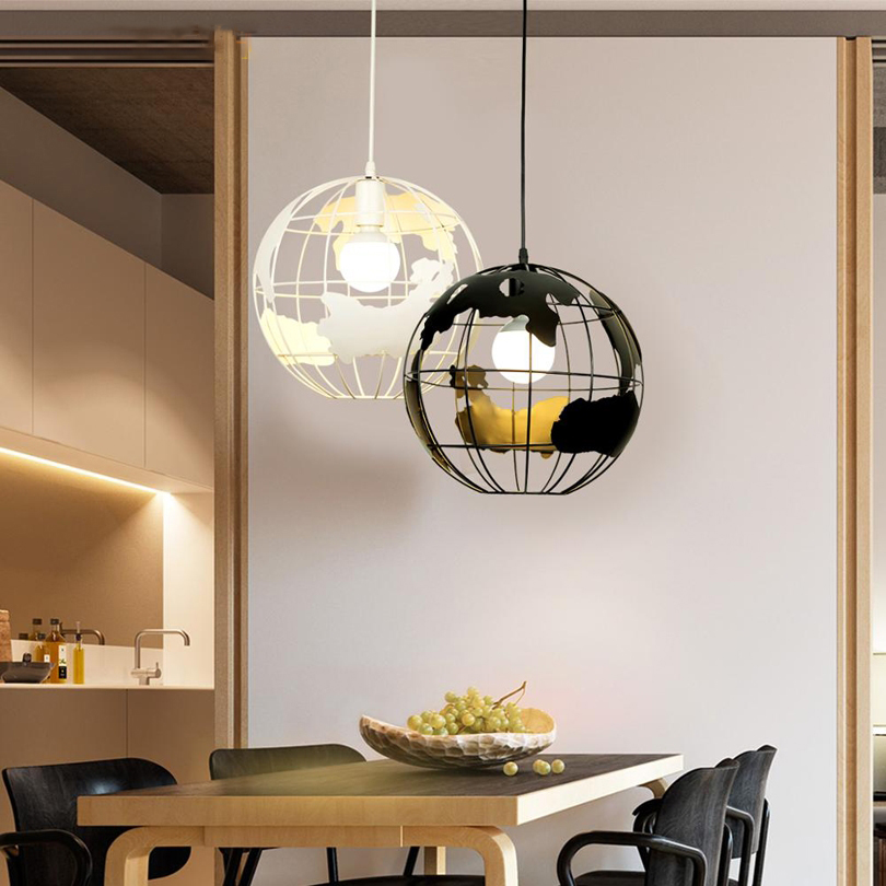 Earth Shape Globe Pendant Lights Pendant Lamps For Bar Restaurant Living Room Hollow Ball Ceiling Fixtures Pendant Light Globes