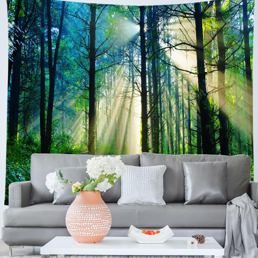 Forest Tree Print Tapestry Travel Picnic Yoga Mat Carpet Home Art Decor <font><b>Tenture</b></font> Tapisserie Art Tapestry Wall Hanging image