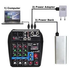 Image 4 - Beruf Mischen Konsole USB Port Angetrieben Mini Bluetooth 4 Kanal Bühne Leistung Live Action Audio Mixer