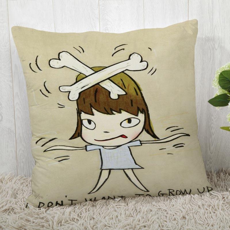 Custom Nara Yoshitomo Pillow Cases Square Pillowcase Christmas Zippered Pillow Cover 40*40cm,45*45cm(One Side)