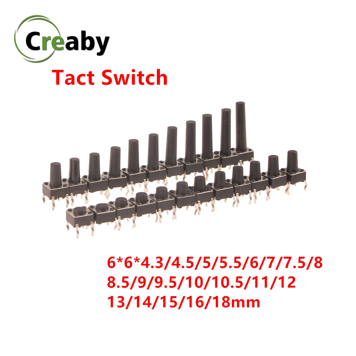 Micro Switch 6x6mm Panel PCB Momentary Tactile Tact Mini Push Button Switch DIP 4pin 6x6x4.3/4.5/5/6/18 MM 6*6*4.3mm 4.5mm