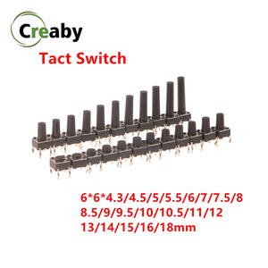 Micro Switch 6x6mm Panel PCB Momentary Tactile Tact Mini Push Button Switch DIP 4pin 6x6x4.3/4.5/5/6/18 MM 6*6*4.3mm 4.5mm(China)