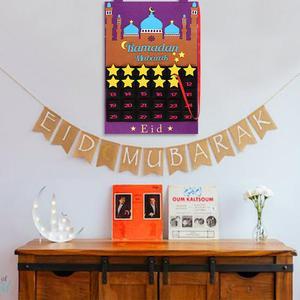 Image 3 - 2020 ใหม่ล่าสุด Eid Mubarak 30 Days Advent ปฏิทินแขวน Felt นับถอยหลังปฏิทินสำหรับเด็กของขวัญ Ramadan PARTY อุปกรณ์ตกแต่ง