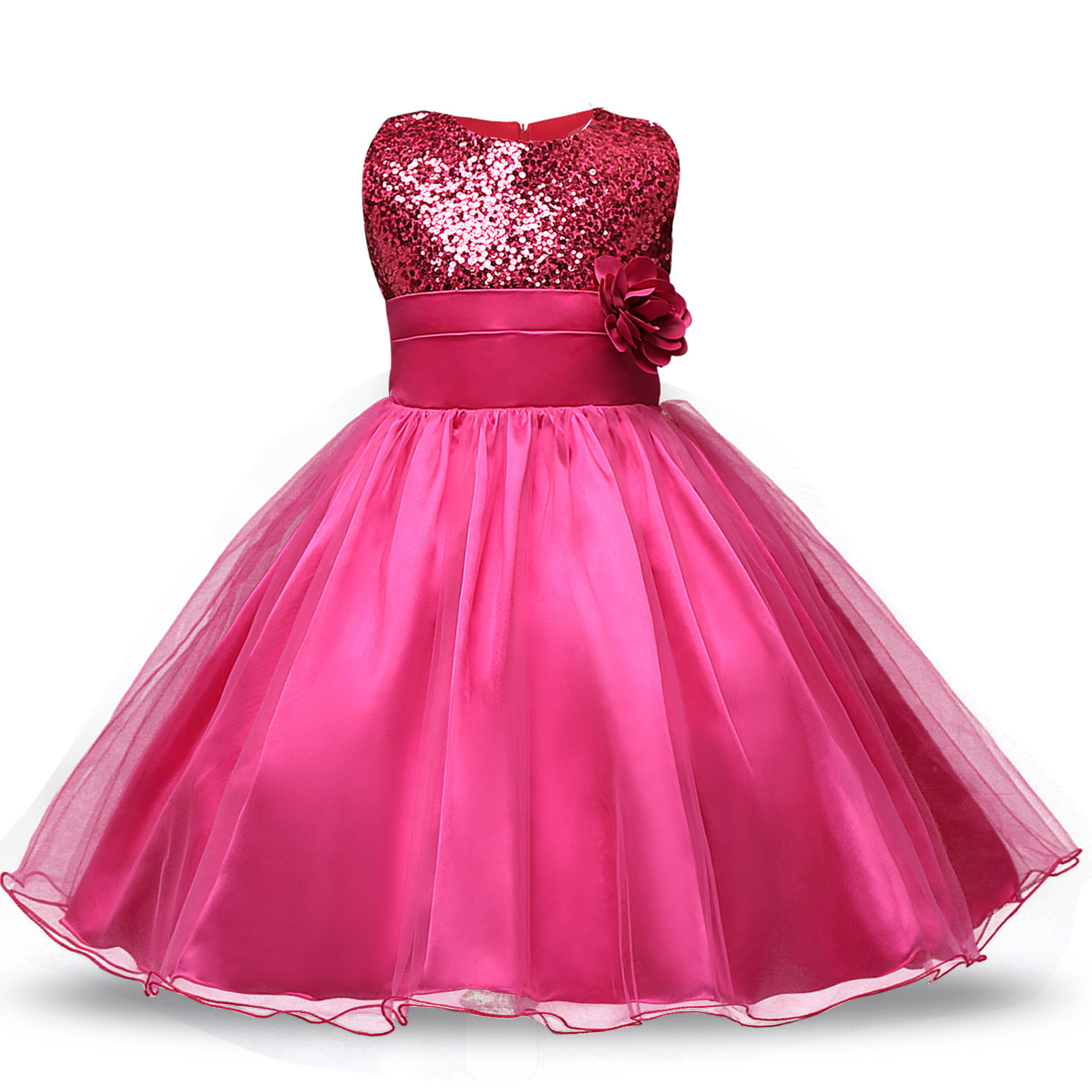 Cross Border Foreign Trade Korean-style GIRL'S Gown Princess Dress Europe And America Sequin Flower Formal Dress Short Cotton In