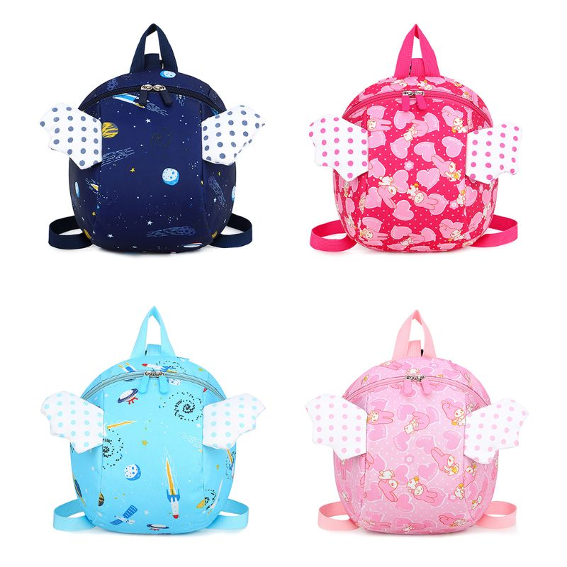 Safety Harness Backpack Kids Anti-lost Cartoon Angel Wings School Bag For Infant Baby Toddler