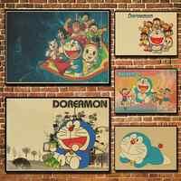 Retro Cartoon Movie Poster Doraemon Brown Paper Decorative Painting Core Stickers Comic Draw Printed Wallpaper Picture Mural