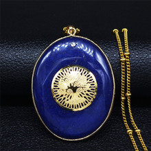 Big Blue Natural Stone Stainless Steel Bohemian Necklace Women Gold Color Tree of Life Necklaces Jewelry collar mujer N72S01 afawa tree of life natural stone stainless steel necklaces pendants for women gold color necklace jewelry cadenas mujer nb13s04