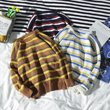 Fall and Winter 2019 New Mens Sweater Loose Knitted Stripe Couple Dress