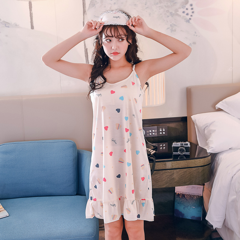 Sleeveless Knit Korean-style Strapped Dress With Bra Tracksuit Nightgown Colored Loving Heart Pajamas Summer