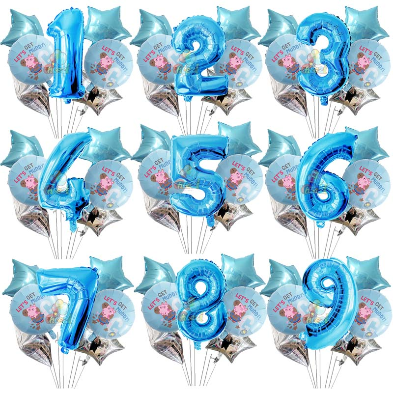 Image 5 - 7pcs 18 inch Peppa Pig helium balloons children Birthday party decorations Number 1 2 3 year baby shower George ballon Kids toys-in Ballons & Accessories from Home & Garden