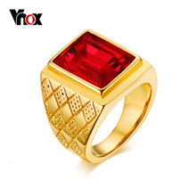 Vnox Big Stone Signet Rings for Men Jewelry Gold Tone Stainless Steel Rhombus Engagement anel masculino(China)