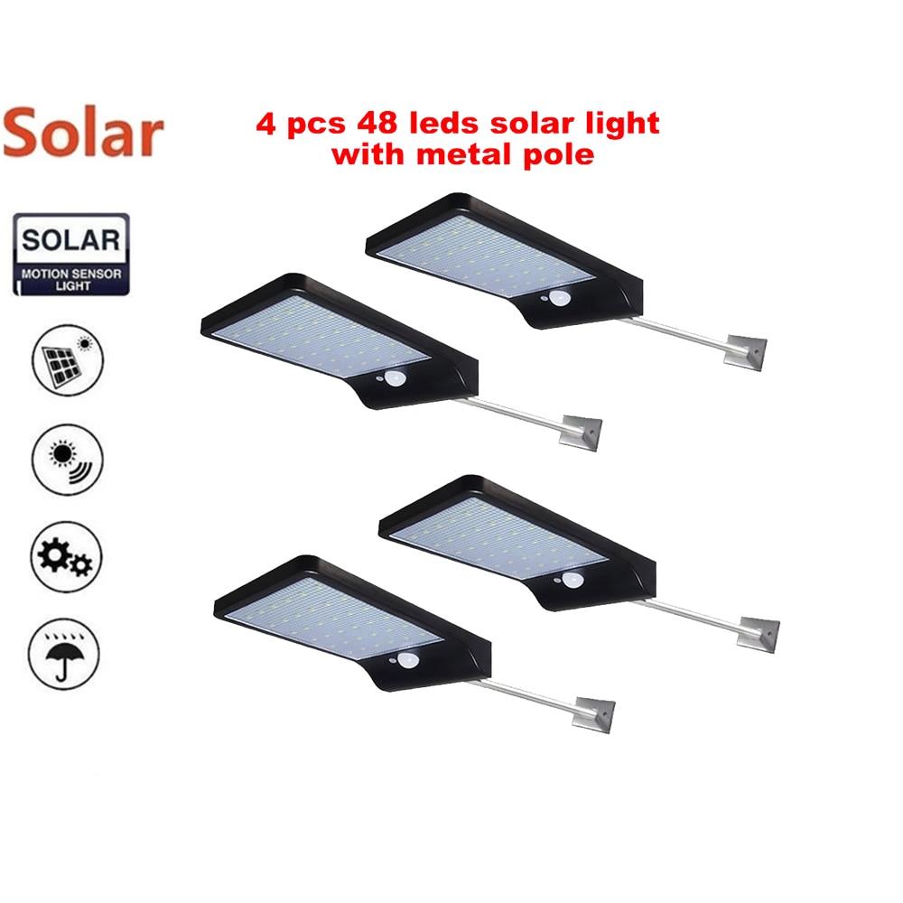 2/4pcs 48 LEDs Solar lamp Wall lamp Wireless PIR Motion Sensor Solar Power Outdoor Waterproof Street Path Garden Security light|Solar Lamps| |  - title=