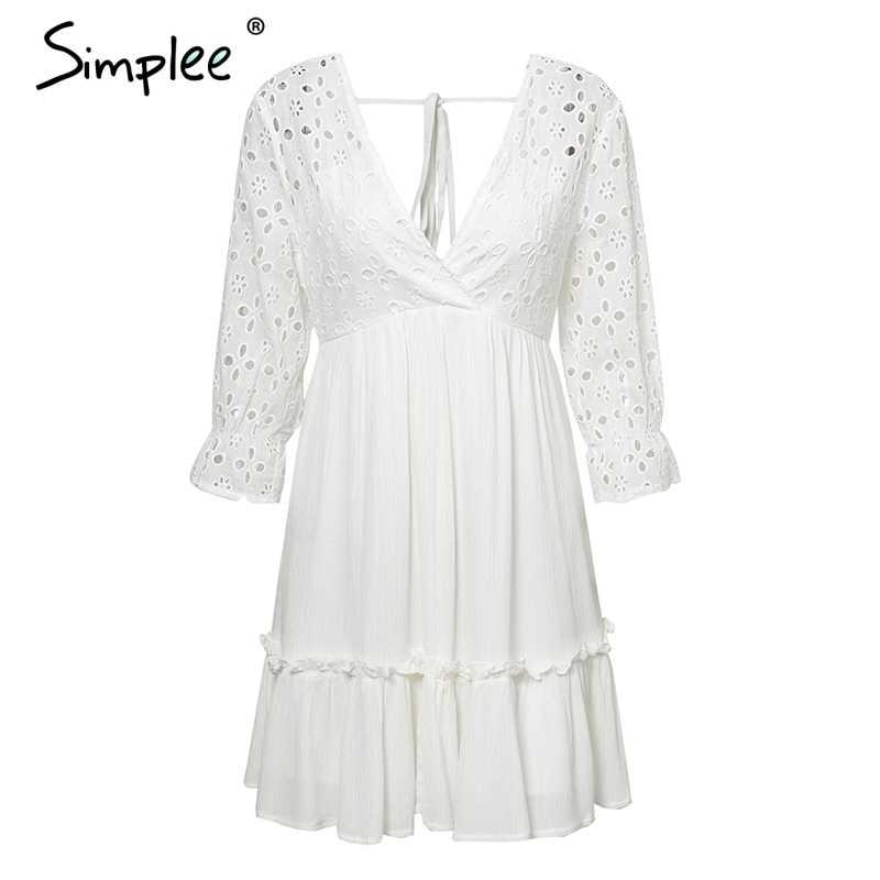 Женское хлопковое платье Simplee, плиссированное элегантное платье на завязке с v-образным вырезом и вышитыми рюшами, привлекательное повседневное полое платье