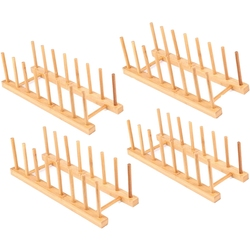 4 Pack bambusowy drewniany stojak na naczynia stojak na naczynia stojak na pokrywkę organizer do szafki kuchennej do miski kubek do krojenia i więcej w Półki i uchwyty od Dom i ogród na
