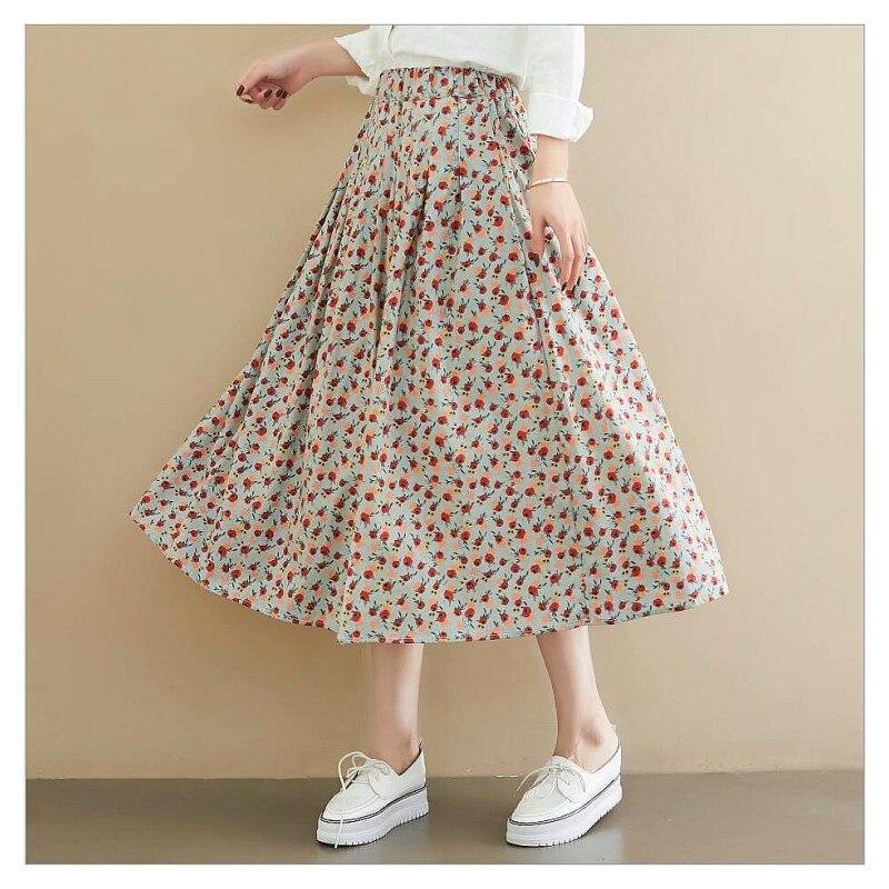 Rustic Flowers Print A-line Skirt Romantic  Fruit  Print Skirt S30180-AQ