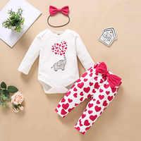 Pelele de cartones animados + Pantalones de corazón, conjunto de trajes para bebés de 0 a 18M, con lazo, 3 uds., primavera y otoño