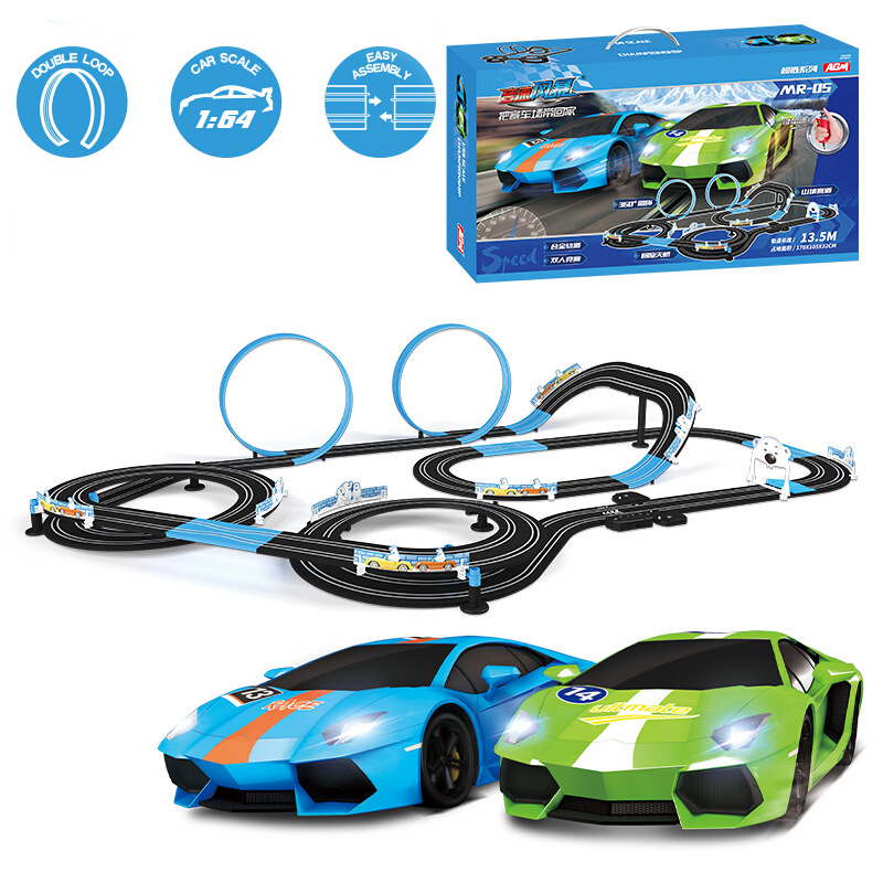 Electric Toy Car Racing Track Double Remote Control Car Interactive Track Autorama Circuit Voiture Railway Toy For Boy Children