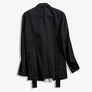 Image 2 - [EAM]  Women Black Contrast Color Burr Split Blazer New Lapel Long Sleeve Loose Fit  Jacket Fashion Spring Autumn 2020 1N048