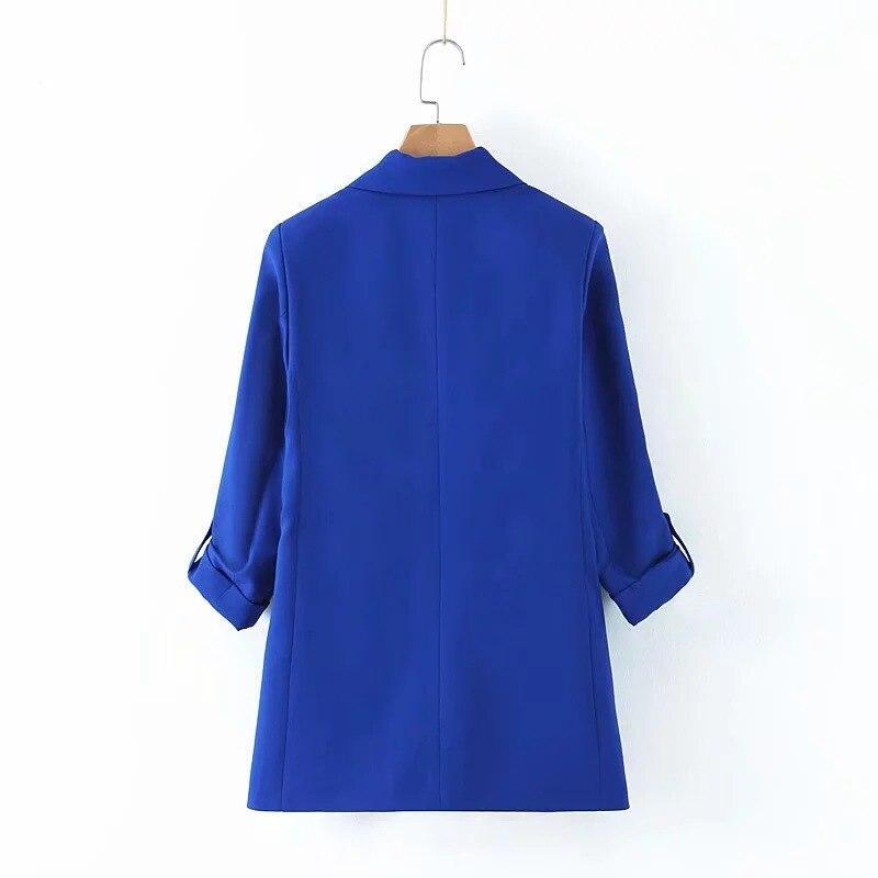 Autumn casual elegant ladies jacket 2019 new elegant loose roll sleeve blue blazer Temperament office long suit female