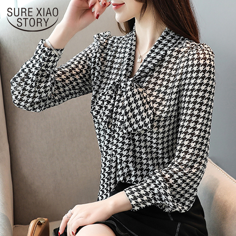 Blouses Woman Blusas Mujer De Moda2019 Ladies Tops Office Lady Bow Plaid Long Sleeve Chiffon Shirts Blusa Mujer Elegante 6436 50