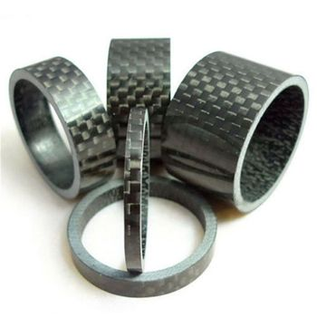 5pcs/set Carbon Fiber Headset Fork Spacers Bicycle Ring Gasket Front Fork Washer Handlebar Spacers image