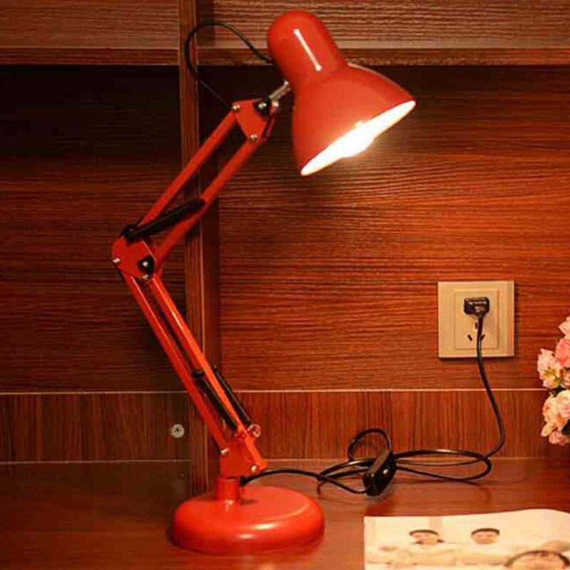 Moderno LED largo brazo oscilante ajustable lámparas de escritorio clásicas E27 clip lámpara de mesa para estudio Oficina lectura luz nocturna cama de noche