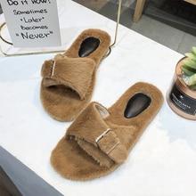 2019 New Warm Fluffy Slippers Winter Home Women Brand Cute Furry Platform Brown Black White Flat Heel