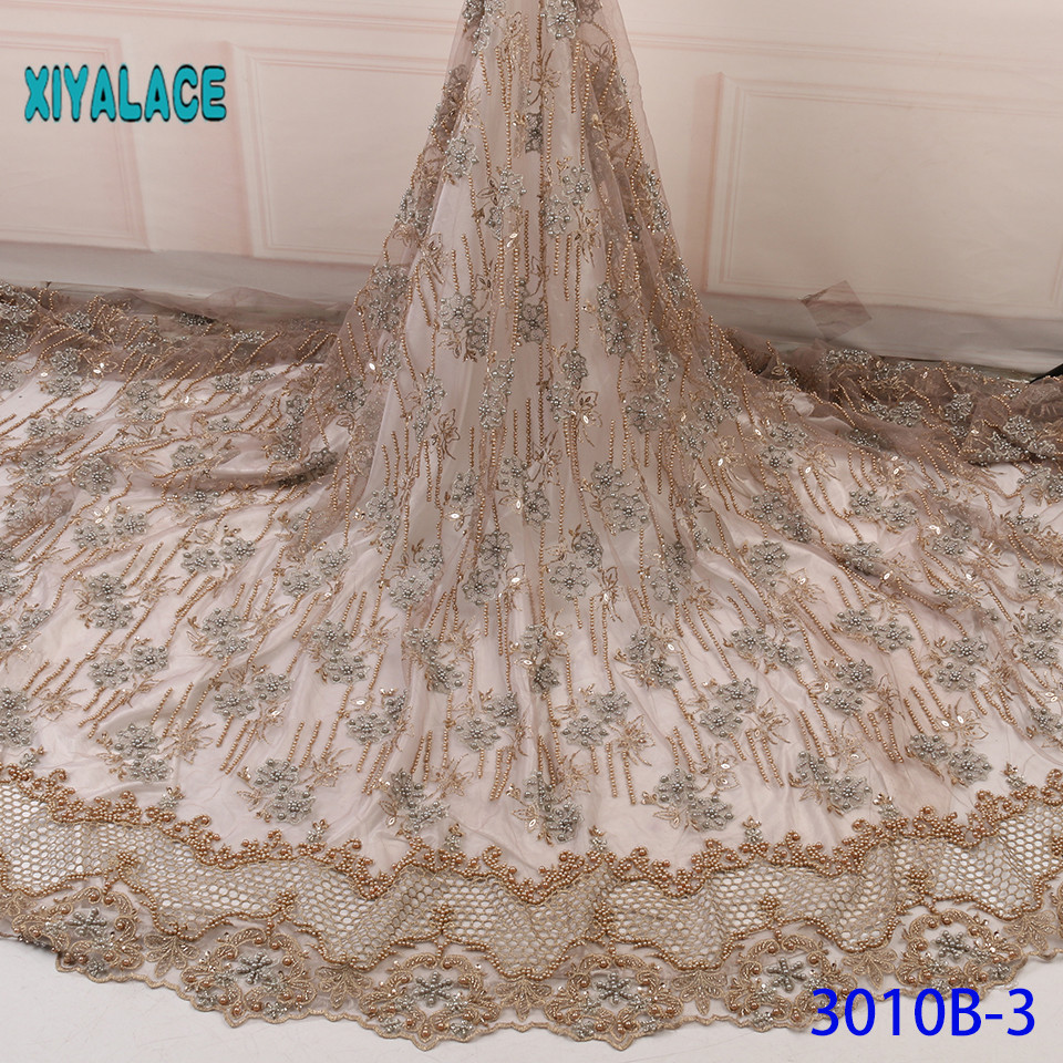 Luxury African Embroidery Organza 3D Flower Handmade Beaded Pearls Tulle Lace Fabric With Rhinestones For Wedding YA3010B-3