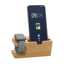 Estação de carregamento de smartphone base de bambu suporte de telefone smartwatch stand desktop berço para escritório para relógio de telefone