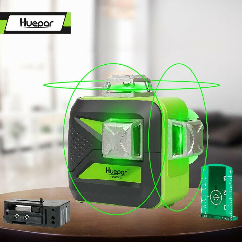 Huepar 12 linhas de nível de laser 3d auto-nivelamento 360 graus horizontal & vertical cruz poderosa ao ar livre pode usar detector feixe verde