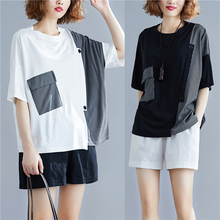 Women Summer Fashion Round Neck Short Sleeve Pockets Patchwork Asymmetric T-shirts