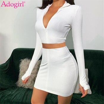 Etiqueta de la suerte Adogirl bordado acanalado de dos piezas conjunto de vestido de cremallera de manga larga Crop Top Bodycon Mini falda Sexy mujer Club traje