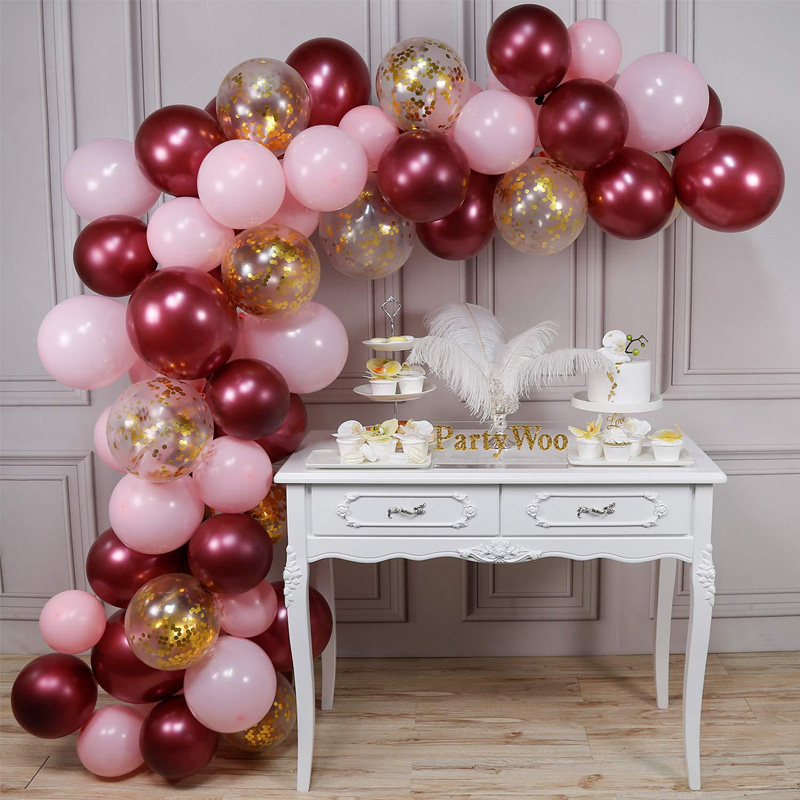 Baby Shower Confetti Balloon Set For Bridal Wedding Party Anniversary Decoration Pink Wine Red Baloon Arch Kit