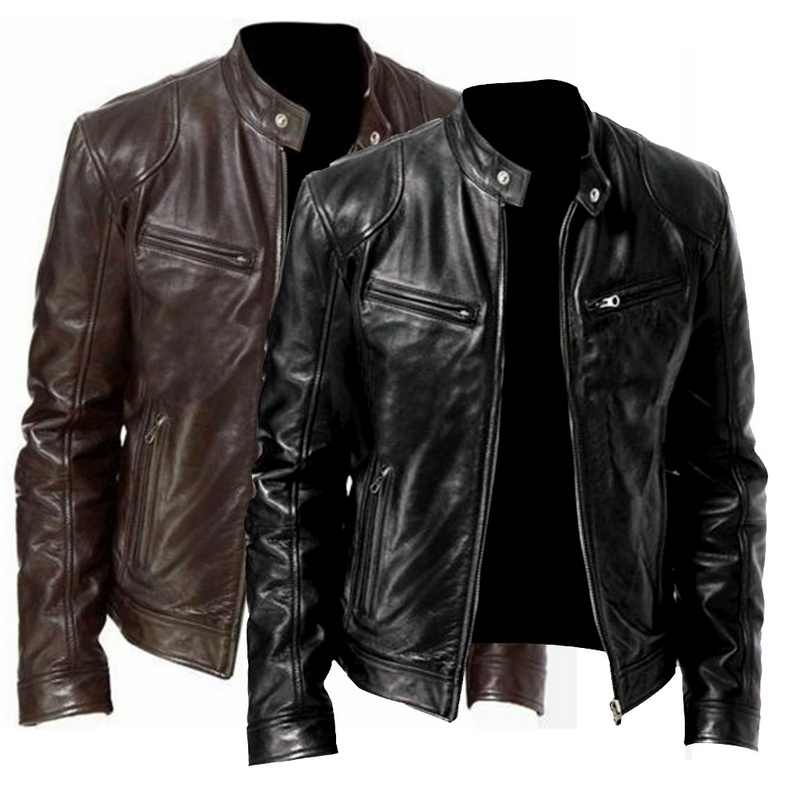 2020 Männer Jacke Neue Männer Motorrad Jacke 2020 Trendy Street Stehen Kragen PU Leder Slim Fit Jacke Casual Herbst Warme mäntel