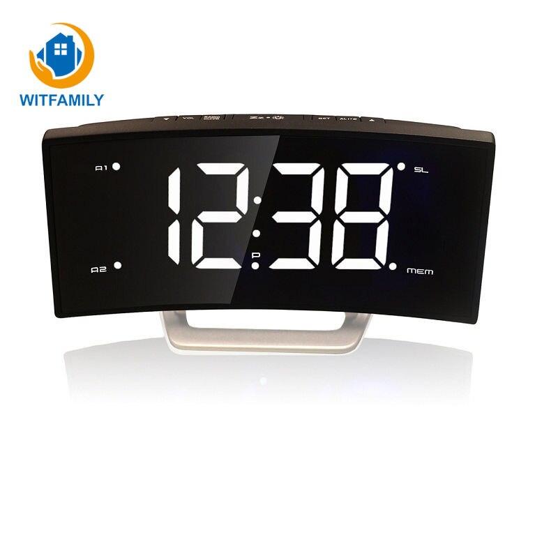 Fonction de chevet avec rétro-éclairage Table de charge horloge moderne bureau numérique LED Radio réveil affichage Snooze décoration de la maison