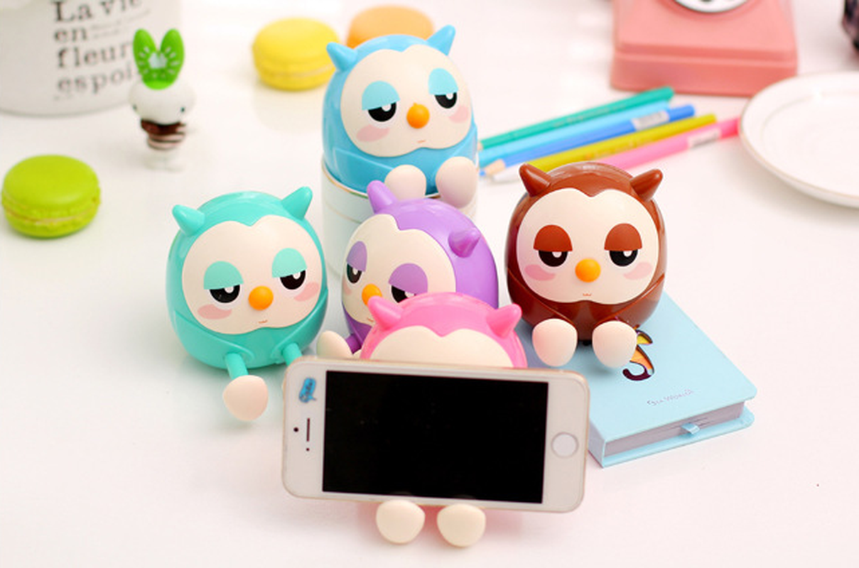 Cute Owl Creative Mobile Phone Holder Piggy Bank  Lazy  Stand Holder Stents Bed Desk Table Clip Bracket For Phone Holder
