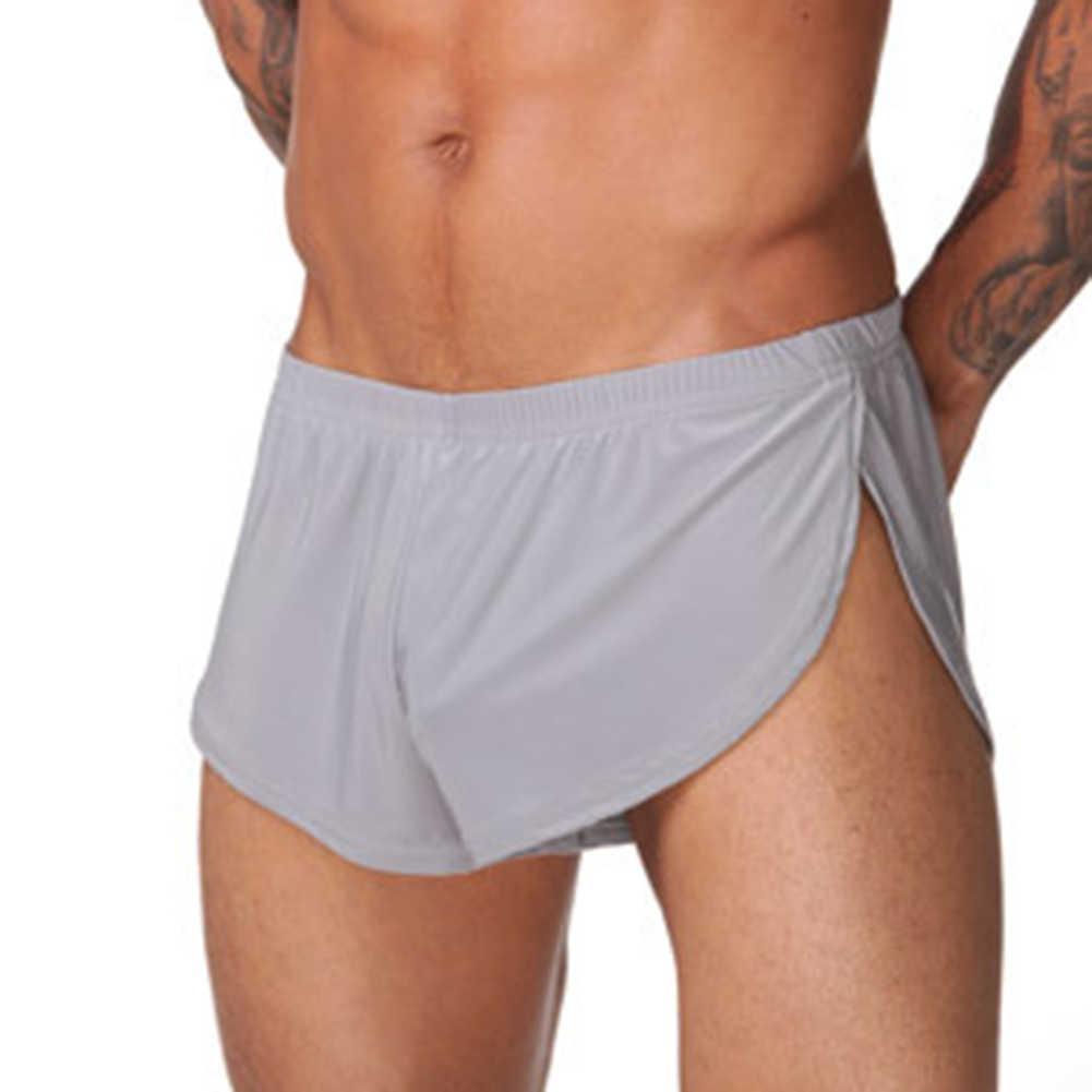 Loose קומפי גברים בוקסר צד פיצול תחתוני מכנסיים קצרים מוצק צבע מזדמן אלסטי חגורת תחתוני בית ספורט