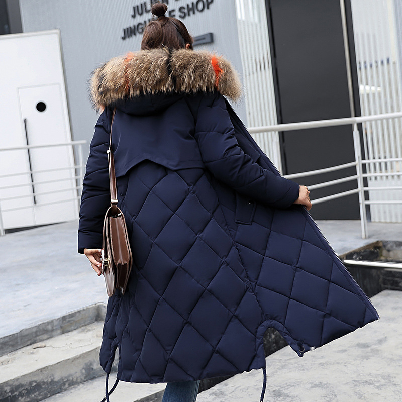 Europe And America Korean-style Cotton Coat Women's Mid-length Large Fur Collar WOMEN'S Cotton-padded Clothing WOMEN'S Dress Thi