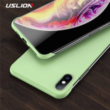 Funda de teléfono mate USLION sin marco Color caramelo para iPhone X XR XS Max 11 Pro para iPhone 11 Pro max 7 8 6 6S Plus Ultra delgado duro PC contraportada(China)