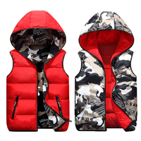 2019 Family Matching Clothes Mother Girl Cotton Vest Two Sided Wear Children Camouflage Warm Waistcoat Papa Son Winter Jackets