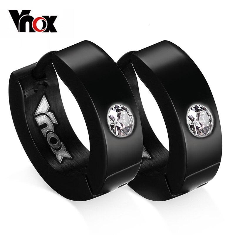 Vnox Cute Hoop Earrings For Women / Men Small Stainless Steel Earings Black / Silver / Blue / Gold Color