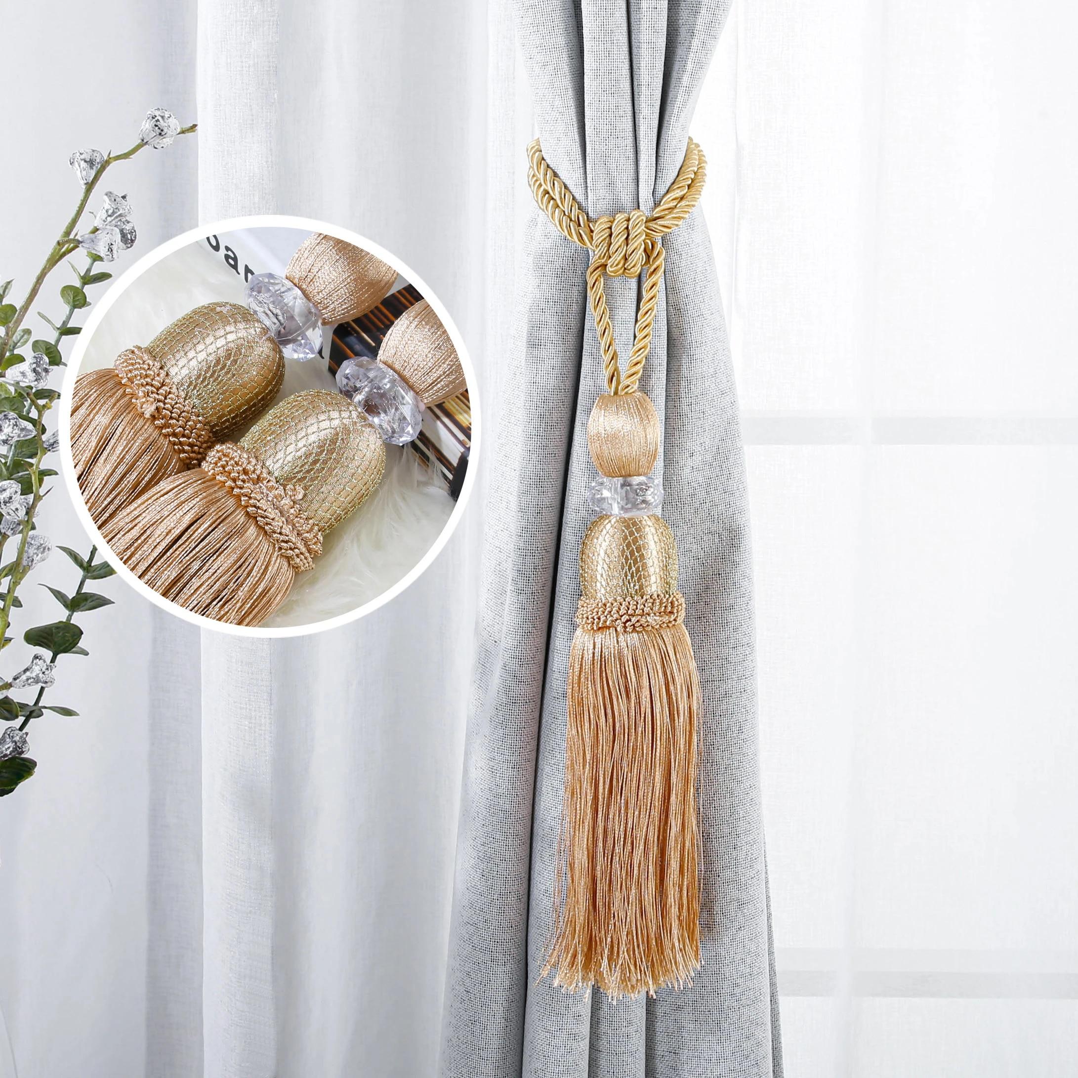topfinel embrasses pour rideaux avec pompon accessoires de luxe decoration de la maison 2 pieces