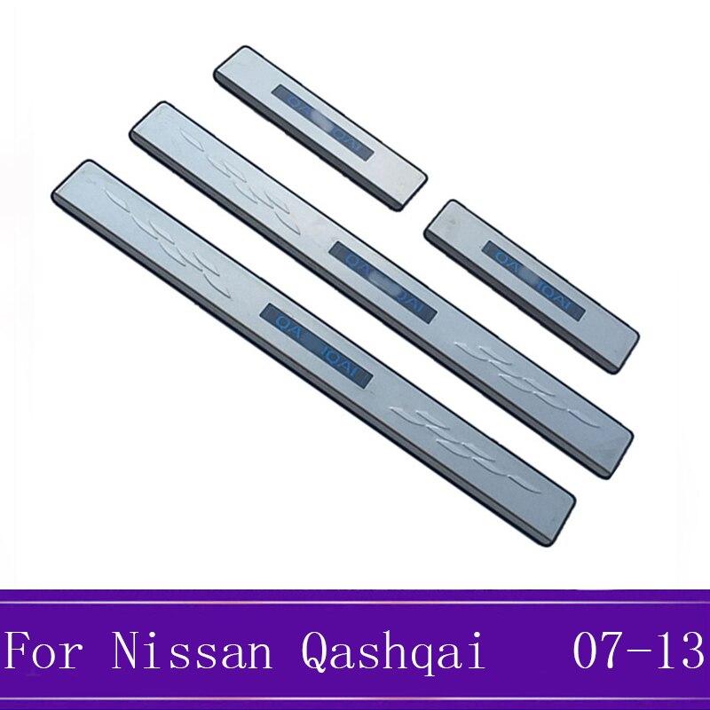 Pour Nissan Qashqai J10 voiture style porte seuil bande bienvenue pédale autocollants accessoires en acier inoxydable 2007-2012 2013 avec LED