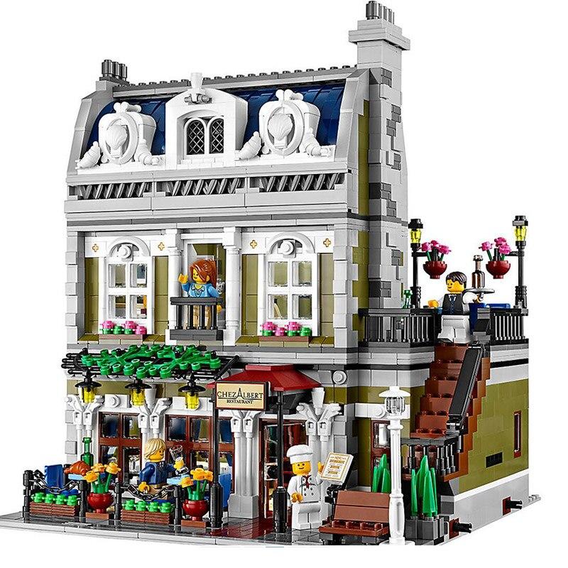 2418 pçs cidade rua vista modelo conjunto criador série criativo parisiense restaurante apartamentos blocos de construção caber 10243