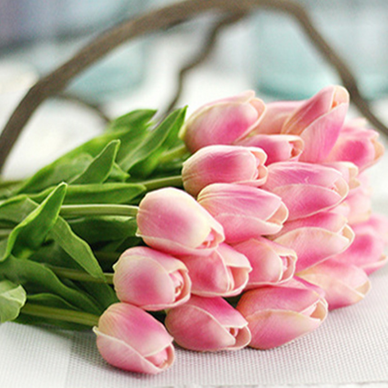 1PC PU Mini Tulips Artificial Flowers For Home And Wedding Decoration Flowers 20